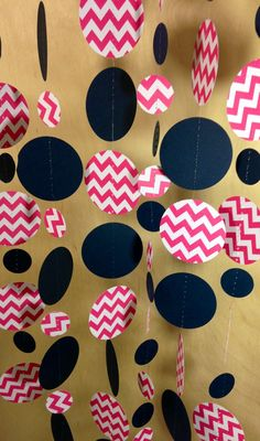 24 Feet Long! Bright Pink, White and Navy Blue Chevron Paper Garland Birthday Party Decor, Baby Shower Decor, Nursery, Wedding Shower Etc! on Etsy, $14.00