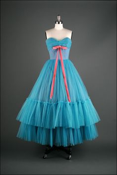 Teal and pink vintage 1950s dress