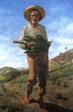 """Ramón Frade de León """"El Pan Nuestro de Cada Dia"""" (Our Daily Bread) – 1905.  In Frade's """"El Pan Nuestro de Cada Día"""" the old peasant (jíbaro) represents the land, hard labor and the difficulties of sustaining a family in times of privation. The figure emerges from a rural landscape, walking toward the viewer. Barefooted, carrying a heavy bushel of plantains, his face shows sadness. Poor, but proud, he is dignified by virtue of his essential humanity."""