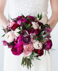 Magenta, pink, Ivory, and green bouquet by Flowers by Yona
