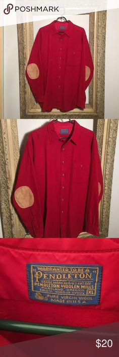 Pendleton Wool Button Down Shirt x Suede Elbow Pad Size XL - Like new Pendleton Shirts