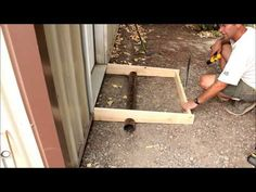 Quick and easy concrete slab for a garage entry door. Diy Concrete Slab, Concrete Sheds, Concrete Footings, Garage Entry Door, Entry Doors, Shed Ramp, Slab Roller, Steel Trusses, Build Your Own Shed