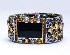 FitBit Charge 2 Band Cover Bracelet: Fraiser Fleur de Lis in Silver and More Gold with Window