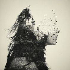 """By: Dan Mountford, from series """"The World Inside Us."""" These double exposure portraits are created in camera, with a little bit of post production work in Photoshop. So beautiful. Portraits En Double Exposition, Exposition Multiple, Design Graphique, Art Graphique, Double Exposure Photography, Art Photography, Dual Exposure, Geometric Photography, Creative Photography"""