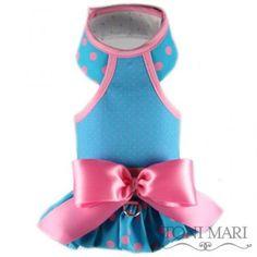 tonimari vest, halter top & shirred edge - cotton candy dots (turquoise/bubblegum pink)