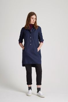 Navy shirt dress with dot print in 100% organic certified cotton. Above knee…