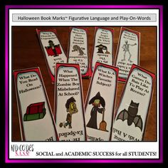 Halloween Book Marks~FREE~ Need something non candy to give your students on Halloween? Try these fun HALLOWEEN THEMED BOOK MARKS. There are two sets of 4 book marks. Set 1 uses clever figurative language for the children to figure out, and Set 2 uses a fun play on words. https://www.teacherspayteachers.com/Product/Halloween-Book-Marks-Using-Figurative-Language-and-Play-on-Words-2841300 #halloween