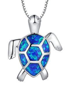 Colgante de plata tortuga azul
