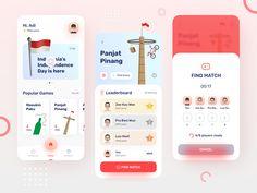 Indonesia Independence - Game UI Mobile App by Adi Bivaga Ux Design Portfolio, Directory Design, Traditional Games, Envelope Design, Instagram Design, Mobile App Design, Game Ui, Job Opening, Branding Design