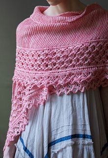 Petal soft and oh-so cozy, Ume is a generous shawl with a sweet, snuggly drape. The pointed lace edging and cushy garter body are worked together end to end to create an elegant crescent shape.