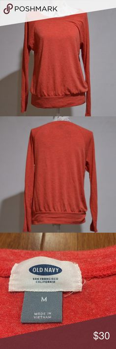 """Long Sleeve Banded Dolman Color Fan the Flames Description: Heathered Orange Dolman. Very soft. Defects: None Condition: Excellent  Length: 26"""" shoulder to hem Bust: 20"""" flat across Sleeve: 26"""" shoulder to cuff  Model Lucy Shoulders 30"""" Bust 35"""" Waist 28"""" Hips 35.5""""  Smoke free home with cats and dogs. Washed in All Free & Clear. No Dry clean or stain treatments due to skin allergy. Old Navy Tops Tees - Long Sleeve"""