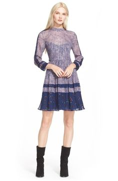 Rebecca Taylor Static Print Silk Blend Dress available at #Nordstrom