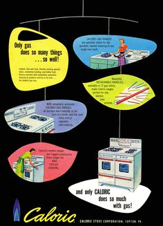 Caloric gas stove, 1953. I love the mobile design of this ad.