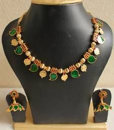 Jewelry Set Buy Gorgeous Kerala Style Palakka Necklace Set Online - The product includes a necklace and a pair of earrings Kerala Jewellery, Indian Jewelry, Temple Jewellery, Bridal Jewellery, Wedding Jewelry, Turquoise Jewelry, Gold Jewelry, Jewelry Necklaces, Opal Jewelry