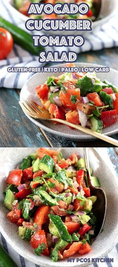 Low Carb Paleo Avocado Cucumber Tomato Salad delicious sugar-free and gluten-free salad with a zesty cilantro dressing.