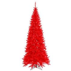Vickerman Artificial Christmas Tree 4.5'x24 inch Red Slim Fir Dura-lit 200 Red Lights 400 Tips