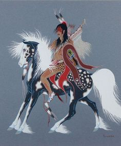$8500 Horse and Rider, Paintings by Woody Crumbo