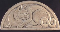 Decorative handmade ceramic tile: Decorative relief carved ceramic cat tile/plaque.  Earthsongtiles