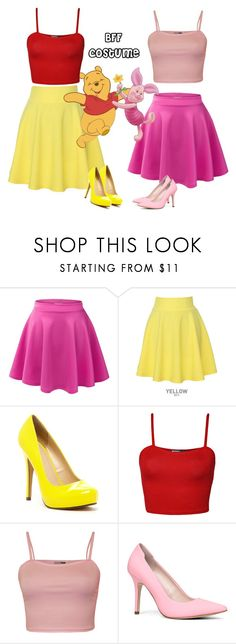 """Diy bff costume?"" by leylanormil ❤ liked on Polyvore featuring LE3NO, QNIGIRLS, Michael Antonio, WearAll and ALDO"