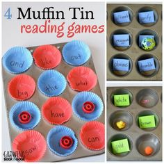 Muffin Tin Reading Games help kids practice vocabulary, spelling, and sight words with these easy to prep learning activities. Reading Games For Kindergarten, Reading Comprehension Games, Reading Games For Kids, English Games For Kids, Art Games For Kids, Literacy Games, Reading At Home, English Activities, Learning Websites For Kids