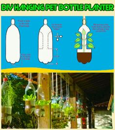 """kihaku-gato: """" indypendentorganization: """" (via Easy Homestead: DIY Plastic Bottle Planters) """" Helloooooo hanging basket substitute~ *I have a bag of clean soda bottles just for the occasion* """""""