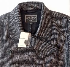 NWT Womens Jacket Lucky Brand Large Black Double Breasted Wool Blend New $189  #LuckyBrand #BasicJacket