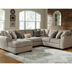 Benchcraft Pantomine 4 Pc. Sectional RAF Chaise/Armless Loveseat/Wedge/LAF Loveseat