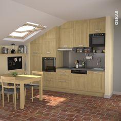 mini cuisine de campagne en bois brut implantation en i carrelage effet brique rouge - Tableau Pour Cuisine Pour Courses