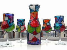 Art: Be My (Fine Wine) Valentine II (Decanter & Glasses Set) by Artist Diane G. Casey