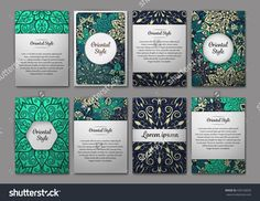 Set Of Flyers, Brochures, Templates Design. Vintage Cards With Mandala Patterns And Ornaments. Floral Decorations. Islam, Arabic, Indian, Ottoman Motifs. Oriental Style Stock Vector Illustration 430158205 : Shutterstock