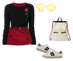 """school/college look #5"" by kiwiid on Polyvore featuring County Of Milan, Marc Jacobs, Gucci and Ray-Ban"