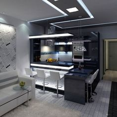 While contemporary kitchen design has been veering away from the monochromatic white kitchen look, we see more appearances of heavily black kitchens, with Kitchen Room Design, Living Room Kitchen, Home Decor Kitchen, Interior Design Kitchen, Kitchen Walls, Modern Kitchen Interiors, Contemporary Kitchen Design, Le Logis, Small Apartment Design