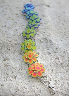rainbow lotus polymer clay bracelet -- Purple Cactis Studios