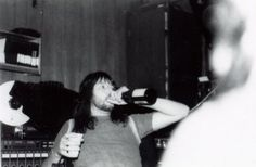 An Unmasked Ace Frehley, In The Studio Enjoying An Adult Beverage - 1978
