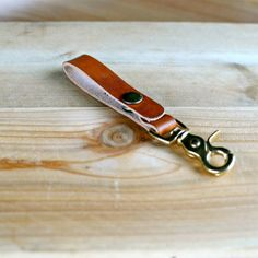 Leather Belt Loop Keychain Holder Brass Fob Keys -$15 via Etsy