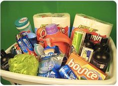 New home gift baskets on pinterest housewarming basket for Gifts for first apartment