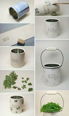 coole-sachen-basteln-blumentopf-aus-dosen-gruene-pflanze-diy-weisse-farbe cool-things-tinker-flower pot-of-cans-green-plant-diy-white-color Upcycled Crafts, Diy Home Crafts, Recycled Cans, Recycled House, Recycled Home Decor, Vasos Vintage, Vintage Diy, Cute Diy, Diy Recycling