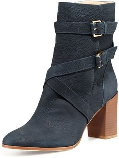 $398, Navy Leather Ankle Boots: Kate Spade New York Lexy Double Buckle Ankle Boot Navy. Sold by Neiman Marcus. Click for more info: https://lookastic.com/women/shop_items/93379/redirect