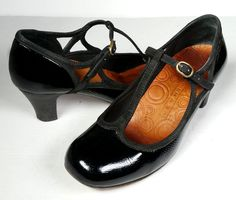 $350 ANTHROPOLOGIE CHIE MIHARA 37 Black Patent Leather T-Strap Shoes *Lovely* 7 #ChieMihara #PumpsClassics #versatile