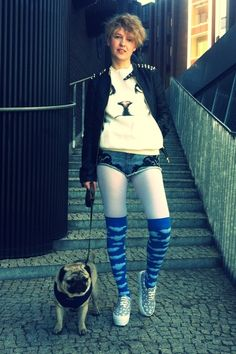 Discover this look wearing Sky Blue Clouds QooQoo Socks, Black Studded Leather Stradivarius Jackets - I got clouds! by Helvetika styled for Punk, Birthday in the Spring Go Pink, Blue Clouds, Studded Leather, Sky High, Pug, Stockings, Girly, My Style, People