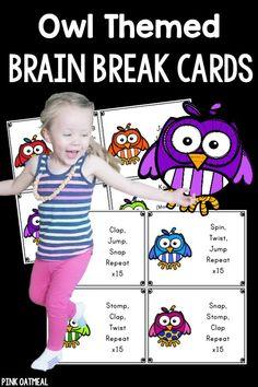 Brain Break Cards - More fun with an owl theme! Make brain breaks fun!