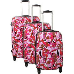 Dejuno Pop Art 3-Piece Lightweight Hardside Spinner Luggage Set ** Check out the image by visiting the link.