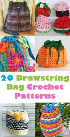 20 Bag Crochet Patterns - Cute and Colorful - A More Crafty Life Crochet Backpack, Crochet Tote, Crochet Handbags, Crochet Purses, Crochet Gifts, Cute Crochet, Knit Crochet, Crochet Drawstring Bag, Drawstring Bags