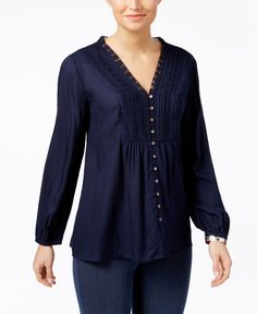 Style & Co Pleated Crochet-Trim Blouse, Only at Macy's