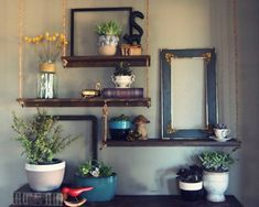 repurposed studio hanging shelves