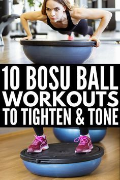 10 bosu ball exercises for beginners and beyond that tighten and tone your arms, legs, abs, and glutes for the sexy body you've always wanted! 10 Bosu Ball Exercises that Tighten and Tone Bosu Workout, Fitness Workouts, At Home Workouts, Fitness Tips, Fitness Weightloss, Muscle Fitness, Fitness Logo, Health Fitness, Mens Fitness