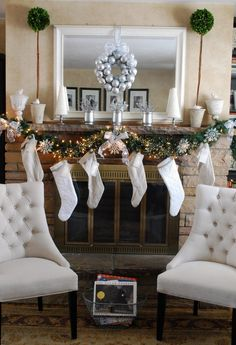 Christmas Mantels - Christmas Decorating - Plus I love the chairs