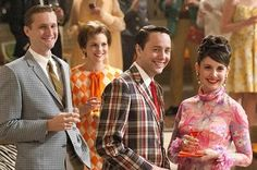 "As Frank states, ""in the late sixties prosperous, middle-aged men commonly wore flashy clothes that bore a superficial resemblance to those favored by their offspring, but which they purchased at elite shops"" (Frank 186).  This picture of the cast of ""Mad Men"" is a perfect example of this trend featuring the checkered suit popular in the 1960s."