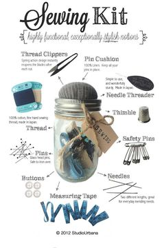 Mason Jar Sewing Kit. This would be a great handmade stocking stuffer for Christmas or perfect for a dorm room gift for college teen. Mother!! @Kathy Chan Chan Campbell