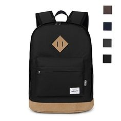 HEXIN Casual Style Lightweight Canvas Backpack School Bag Travel Daypack -- Visit the image link more details.